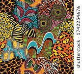 traditional african fabric and... | Shutterstock .eps vector #1742254676