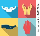 flat design icon set of hands...