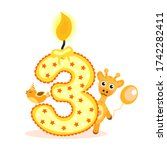 happy third birthday candle and ... | Shutterstock . vector #1742282411