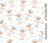 cute cartoon sheep seamless... | Shutterstock . vector #1742282780