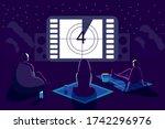 outdoor movie theater night...   Shutterstock .eps vector #1742296976