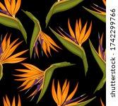 tropical flowers seamless...   Shutterstock .eps vector #1742299766