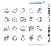fruit line icons. editable... | Shutterstock .eps vector #1742306639
