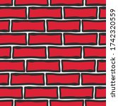 Red Brick Wall. Cartoon...