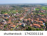 ubud city aerial view to street ... | Shutterstock . vector #1742331116