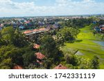 ubud city aerial view to street ... | Shutterstock . vector #1742331119