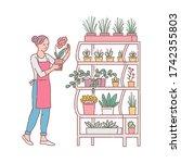florist woman cartoon character ... | Shutterstock .eps vector #1742355803