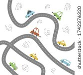 cartoon cute kids map with car  ... | Shutterstock .eps vector #1742376320