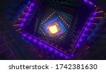 tunnel with neon lights. 3d... | Shutterstock . vector #1742381630