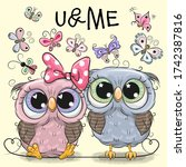 Two Cute Cartoon Owls And...