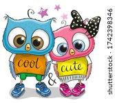 two cute cartoon owls on a...   Shutterstock . vector #1742398346