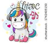 cute cartoon unicorn with... | Shutterstock . vector #1742405150