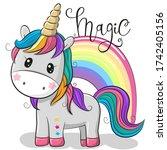 cute cartoon unicorn and a... | Shutterstock . vector #1742405156