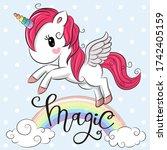cartoon cartoon unicorn is... | Shutterstock . vector #1742405159