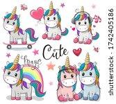 set of cute cartoon unicorns...   Shutterstock . vector #1742405186