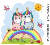 two cute cartoon unicorns are...   Shutterstock . vector #1742408399