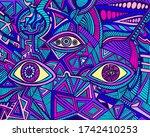 cartoon funny psychedelic...   Shutterstock .eps vector #1742410253
