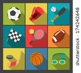 sport icons set in flat design... | Shutterstock .eps vector #174242648