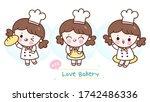 set of cute girl vector kawaii... | Shutterstock .eps vector #1742486336