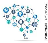 digital smart mesh grid...   Shutterstock .eps vector #1742499059