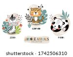 jungle baby animals collection. ... | Shutterstock .eps vector #1742506310