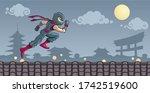 A Ninja Warrior Running Above...