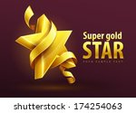 gold star with ribbon vector... | Shutterstock .eps vector #174254063