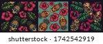 set of seamless coloured... | Shutterstock .eps vector #1742542919