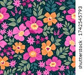 trendy seamless vector floral... | Shutterstock .eps vector #1742545793