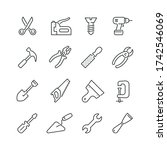 tools related icons  thin... | Shutterstock .eps vector #1742546069