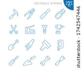 tools related icons. editable... | Shutterstock .eps vector #1742547446