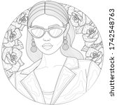 girl in a jacket and glasses....   Shutterstock .eps vector #1742548763
