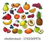 cartoon berries and fruits.... | Shutterstock . vector #1742569976