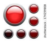 set of vector red rounded glass ... | Shutterstock .eps vector #174259808