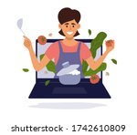 smiling woman with kitchen... | Shutterstock .eps vector #1742610809