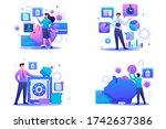 set flat 2d concepts bank... | Shutterstock .eps vector #1742637386
