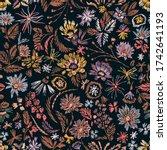 cartoon botanical seamless... | Shutterstock .eps vector #1742641193