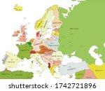 europe political vector map for ... | Shutterstock .eps vector #1742721896