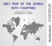 grey world map with countries.... | Shutterstock .eps vector #1742729159