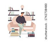 the guy is sitting with a... | Shutterstock .eps vector #1742738480