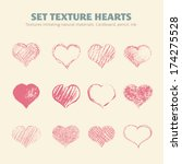 set of vector texture hearts.... | Shutterstock .eps vector #174275528