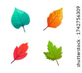 set of bright colorful autumn... | Shutterstock .eps vector #1742756309