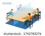 new normal  physical social... | Shutterstock .eps vector #1742783276