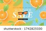 summer sale design with orange...   Shutterstock .eps vector #1742825330