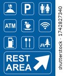 Set Of Rest Area Sign Vector...