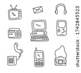 set of old technology doodle... | Shutterstock .eps vector #1742845523