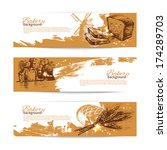 set of bakery sketch banners.... | Shutterstock .eps vector #174289703