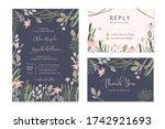 wedding invitation set with... | Shutterstock .eps vector #1742921693