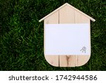 blank wood house with blank... | Shutterstock . vector #1742944586