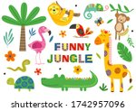 set of isolated funny jungle...   Shutterstock .eps vector #1742957096